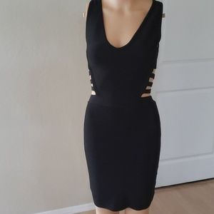 Black cut out rib dress